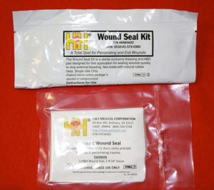 Pictured are the H&H Medical Wound Seal Kit and Compact Wound Seal.  Other companies also produce simple and valved options.  They range in price from approximately $15 to $30 each.