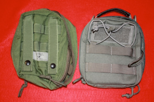 Pictured are medical pouches from Eagle Industries and Maxpedition.  Another common brand is Rothco.  They range in price from approximately $15 to $45 each.